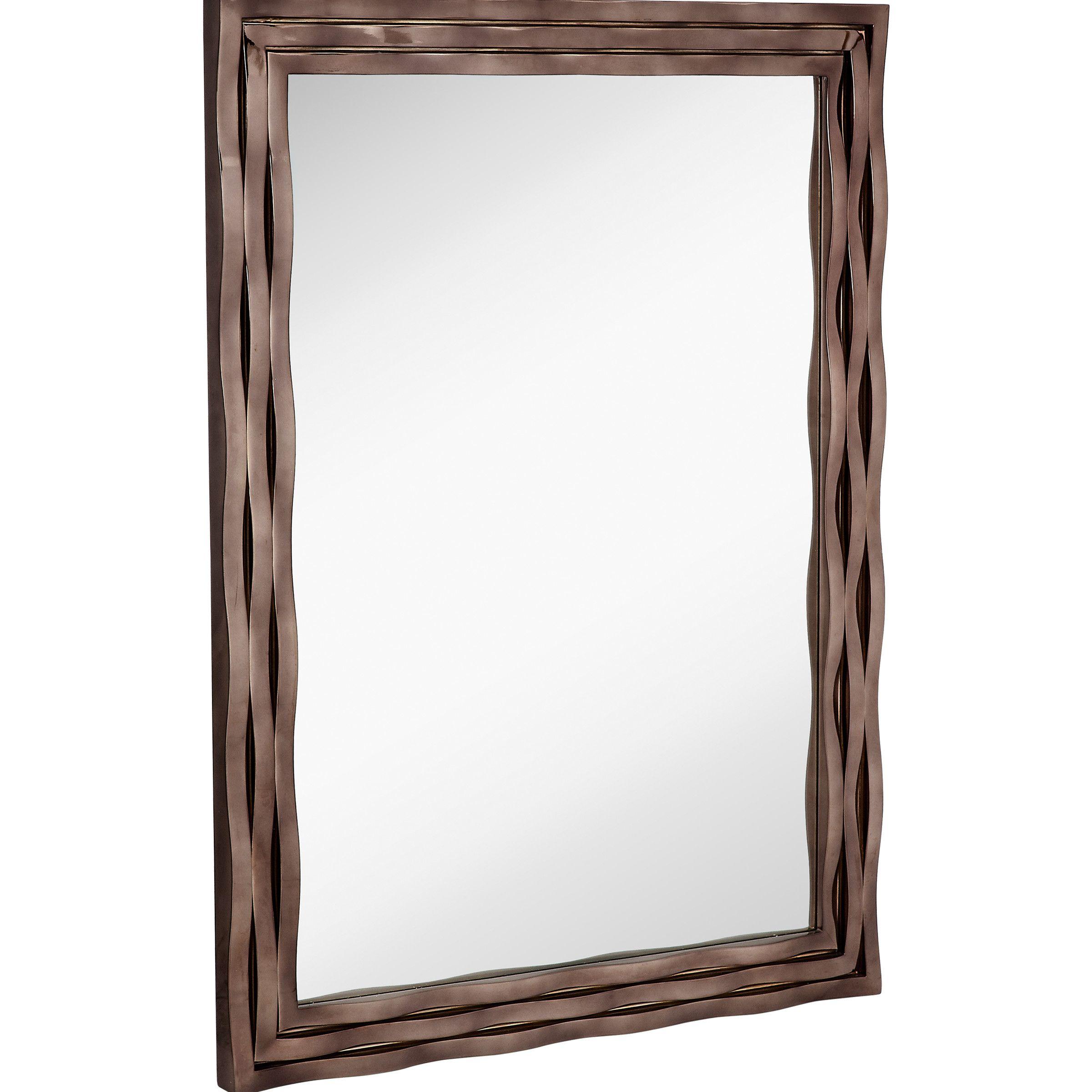Majestic Mirror Large Modern Rectangular Mirror with Smoked Chrome Wavy  Frame