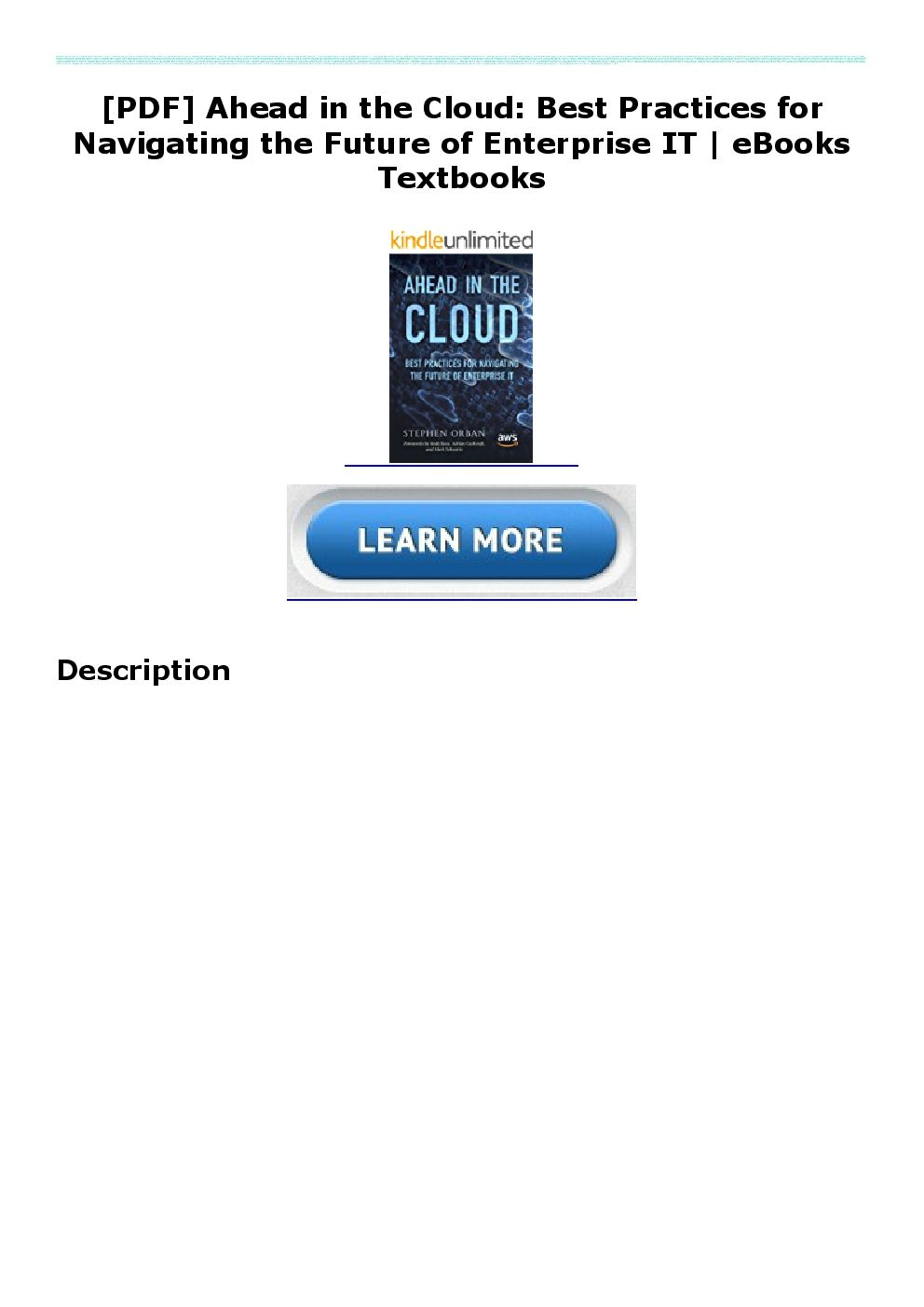 Pdf Ahead In The Cloud Best Practices For Navigating The Future Of Enterprise It Ebooks Textboo Enterprise Ebooks Book Worth Reading How to read pdf on mobile