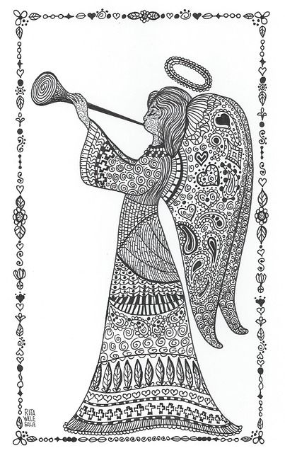 Zentangle Christmas Angel | Angel, Zentangle, Christmas, Alleluia, Wings, Halo