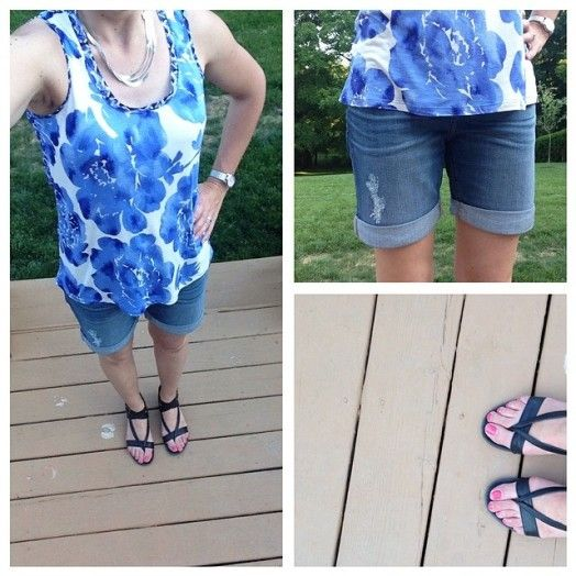 What I Wore Real Mom Style: Distressed Denim Boyfriends Shorts with a mixed- media tank