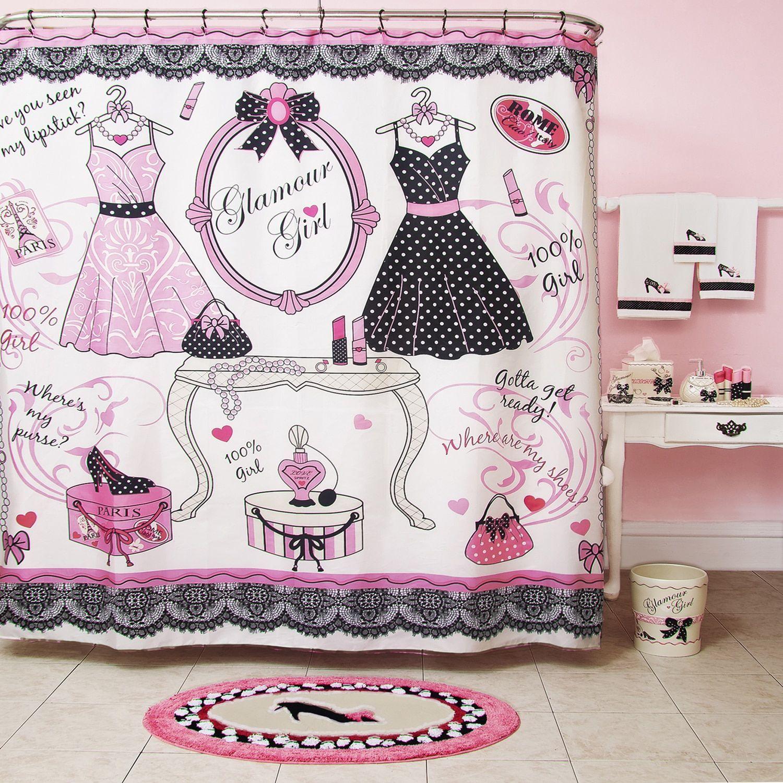 Homewear Glamour Girl Printed Shower Curtain. Teenage ...