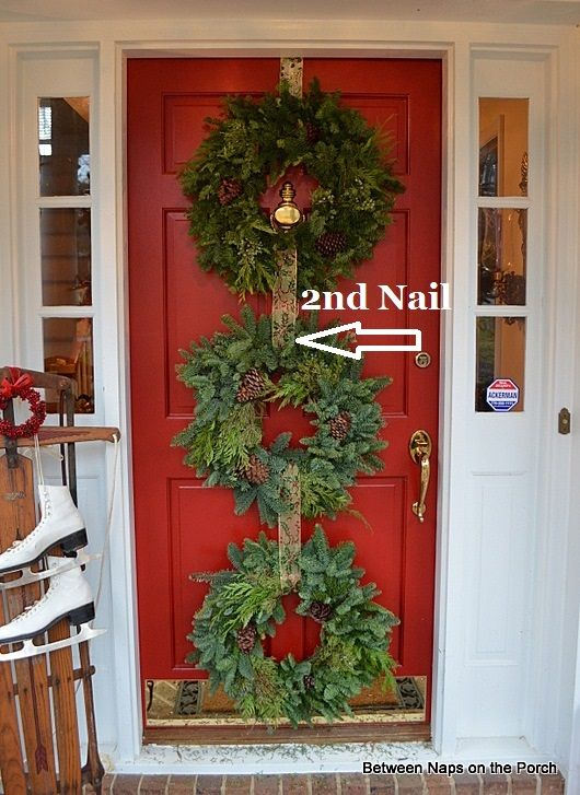 Christmas Door Ideas Decorate With Triple Wreaths