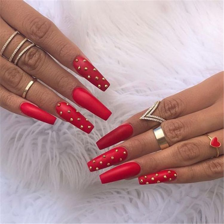 45 Hottest Red Long Acrylic Coffin Nails Designs Of 2019 Page 27 Of 45 With Images Coffin Nails Designs