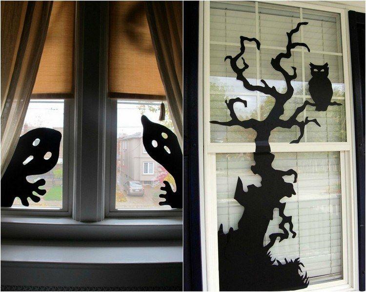 bricolage facile déco fenêtre avec des dessins splendides Decoration  Fenetre Halloween, Deco Fenetre Halloween,
