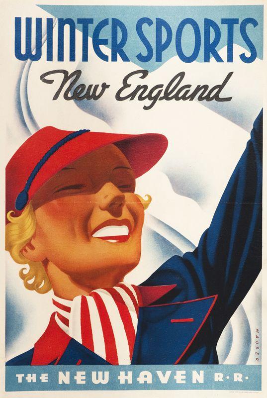 Winter Sports - New England - New Haven by Maurer, Sascha | Shop original vintage posters online: www.internationalposter.com