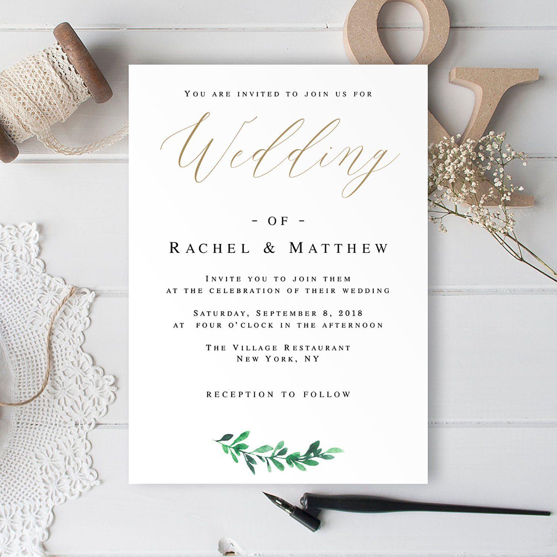 Greenery Gold Wedding Invitation Template Wedding Invitation Only Gold Greenery Invit Gold Wedding Invitations Wedding Invitation Templates Wedding Invitations