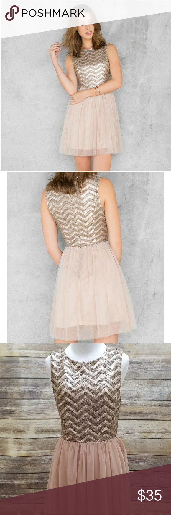 NWT Francesca's Laurel Pink Sequin Dress