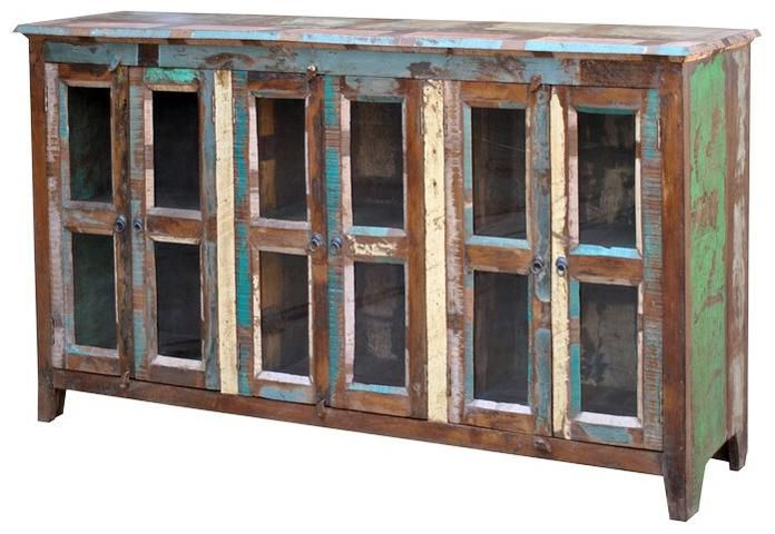 Sawan Vintage Glass Paneled 6 Door Bookcase Sideboard By Jaipur Furniture    Olindeu0027s Furniture