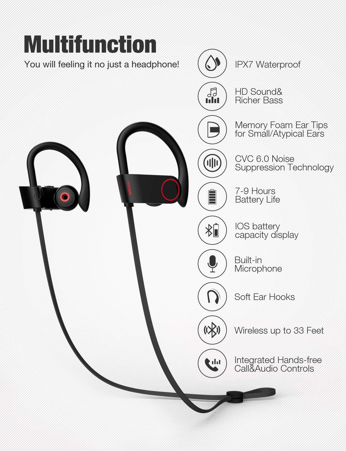 Bluetooth Headphones Bluetooth HD Stereo Exercise Headset Built in Mic Noise Cancelling headphones 9-hour Battery Play Time Waterproof Over-Ear Earphones Sport Earphone for IOS and Android Smartphones