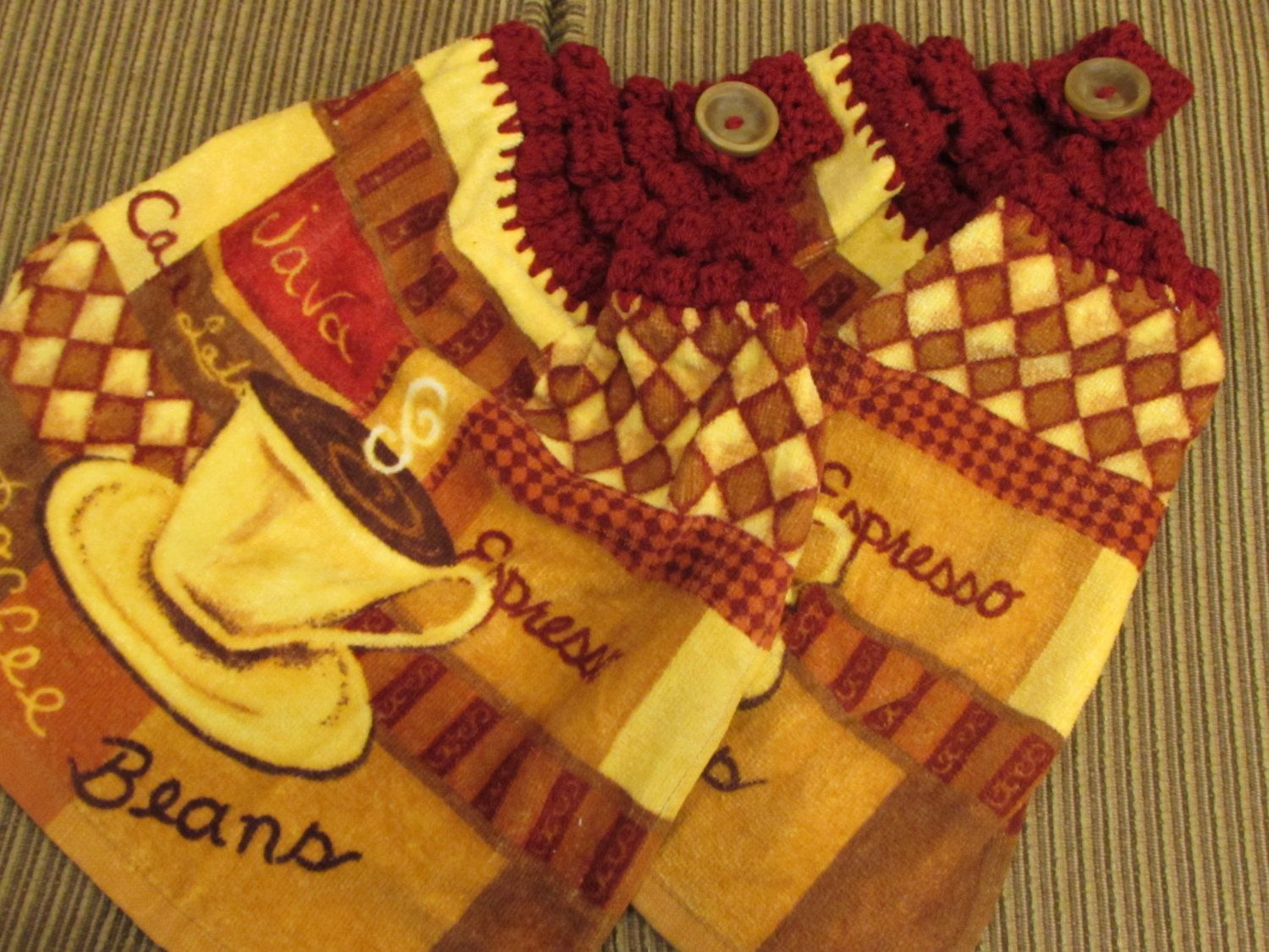 Red And Gold Kitchen Hanging Kitchen Dish Towels With Crochet Tops Towel Set Handmade