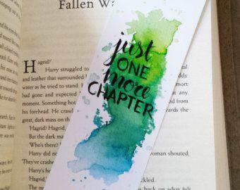 Marque page aquarelle – juste un chapitre plus (orange-jaune) (par Keymarks)
