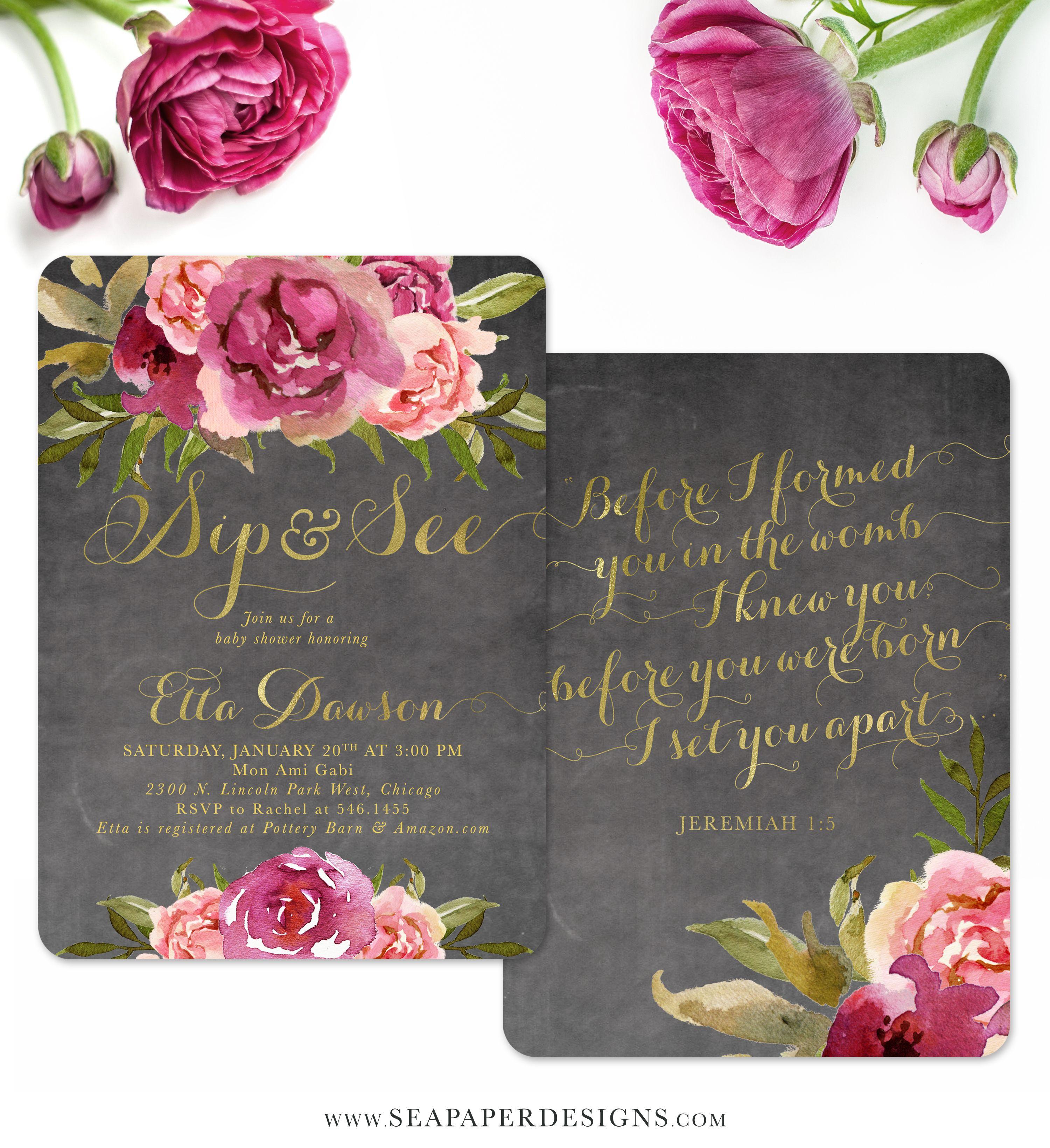 Etta: Baby Girl Sip & See Shower Invitation {Merlot & Blush Pink ...