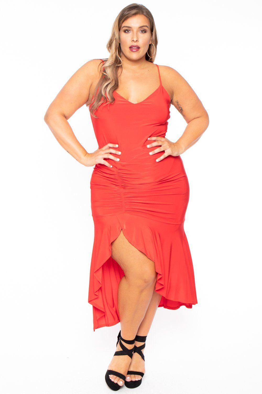 Plus size flamenco ruffled dress red in 2020 dresses