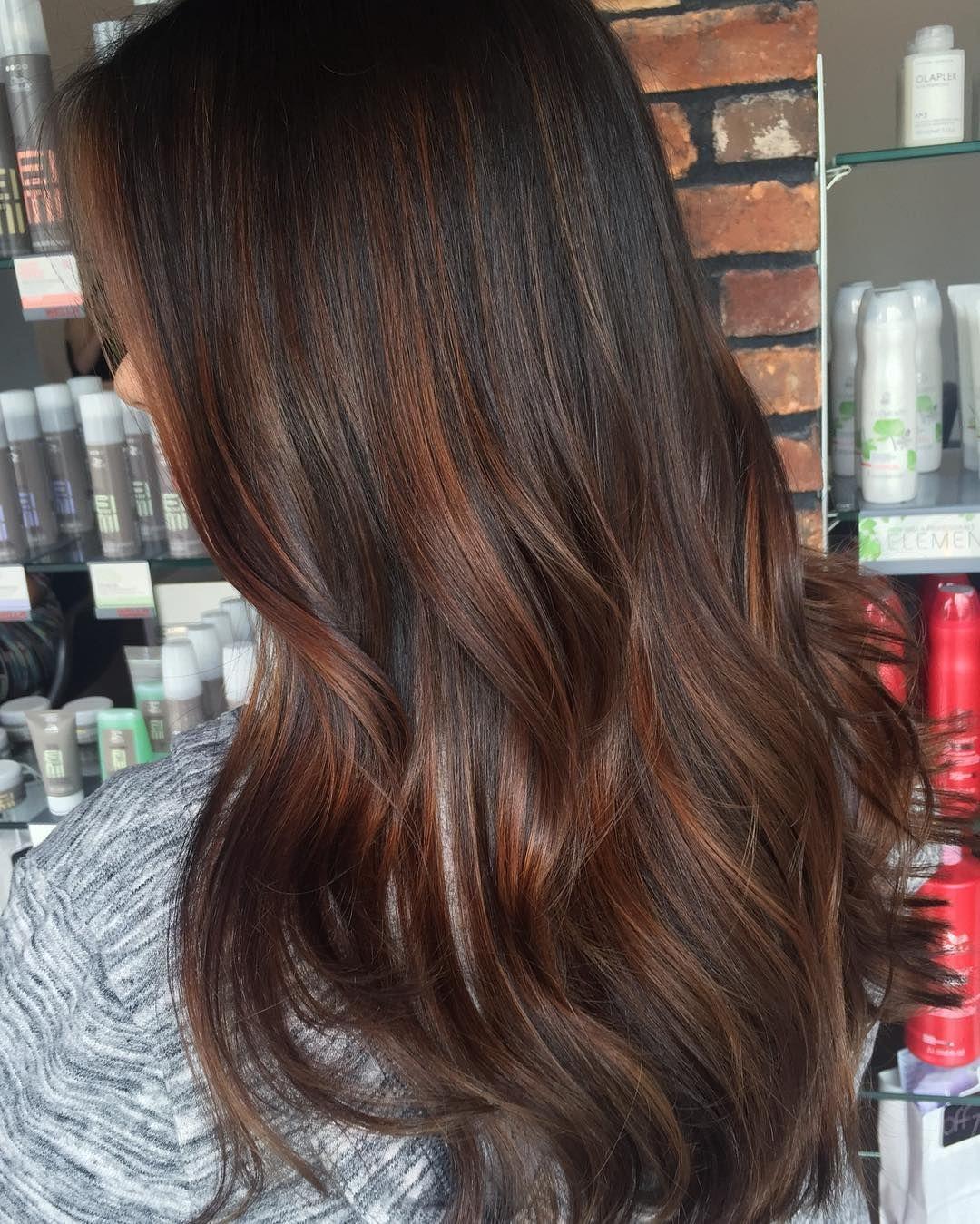 Dark brown hair with chocolate brown balayage hair ideas