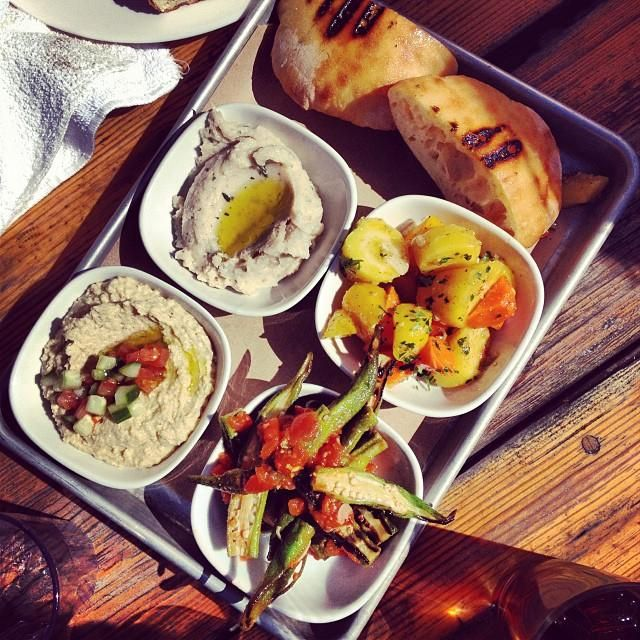 More fine Charleston grub @Butcher & Bee--hummus, okra and other tasty eats.