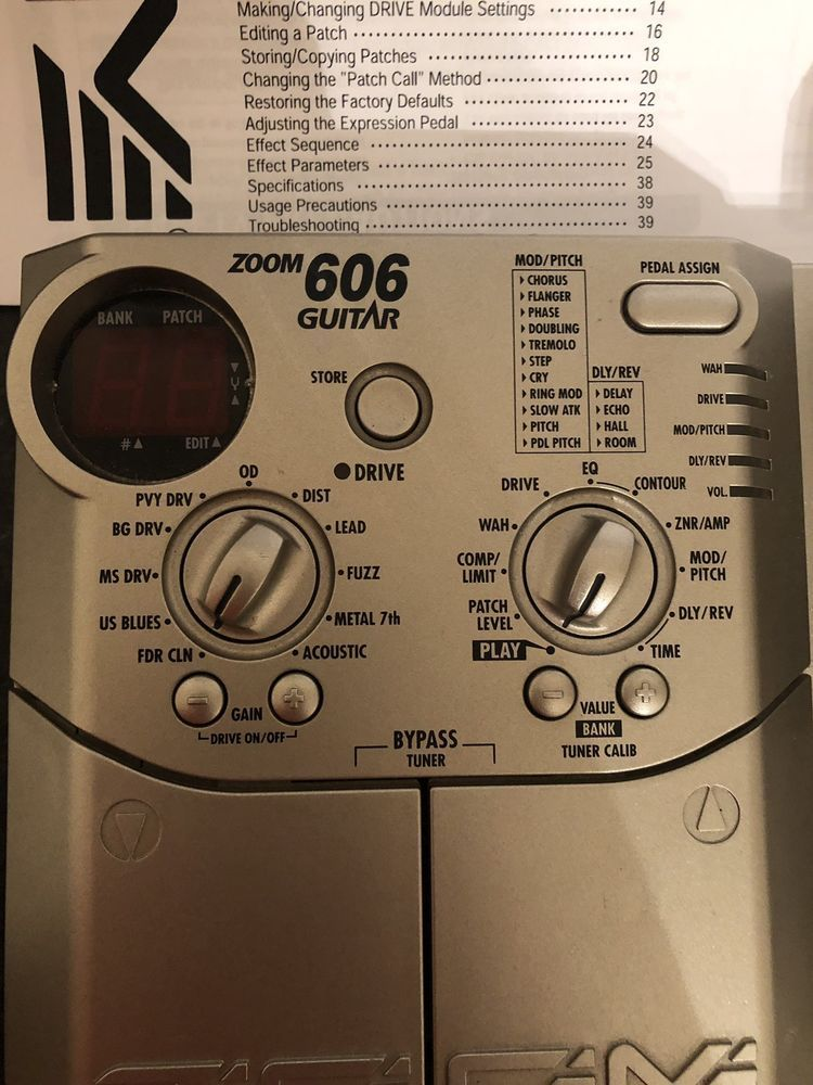Zoom 606 Guitar Multi Effects Pedal Processor Power Supply Guitar Multi Effects Pedal Guitar Effects Power Supply