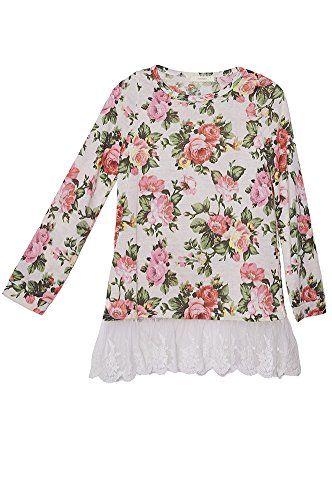 13c0a5393 Big Girls Kids Cream Floral Beige Sweater Pullover Lace Top