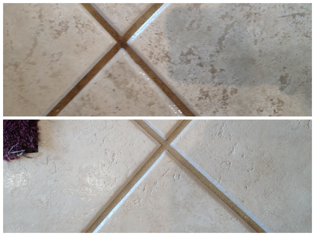 Before and after Stanley Steemer tile and grout cleaning  Tile  Stone Tips  Clean tile grout