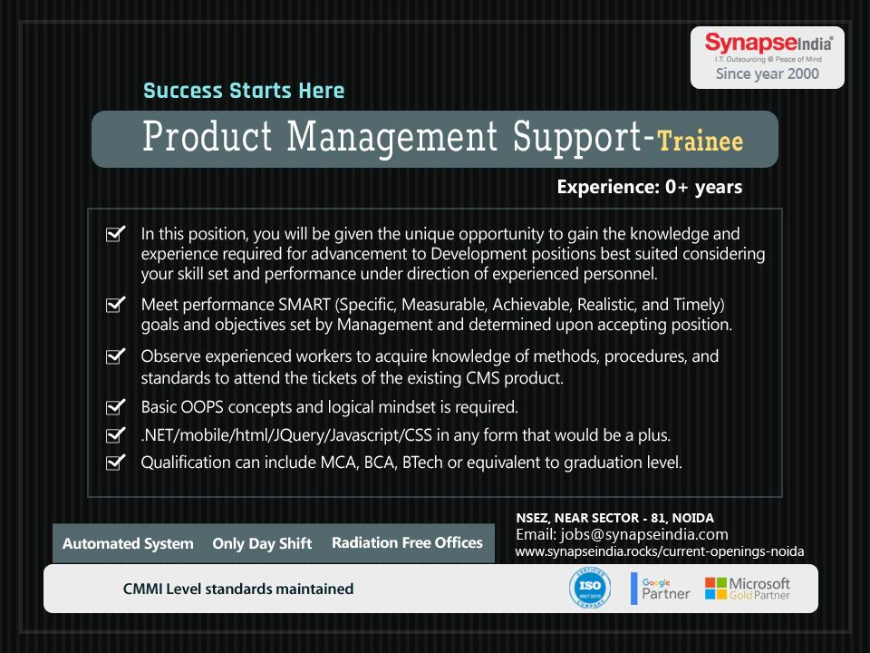 SynapseIndia is hiring for Product Management Support