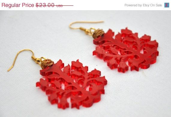 ON SALE Red Chandelier dangle earring by GililifeCollection ...