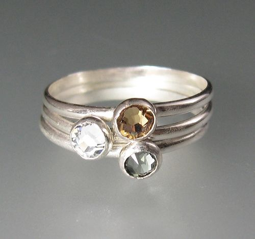"Stacking rings - sterling silver rose cut Swarovski crystal cocktail rings in set of three: golden topaz crystal, and clear crystal and black diamond crystal. ""Elegance Set of Three Stacking Rings"" handmade by Kryzia Kreations  http://www.kryziakreationsstudio.com $70.00"