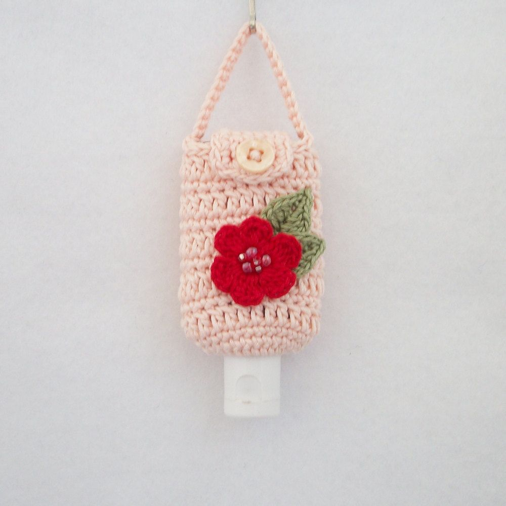 Crocheted Hand Sanitizer Holder/Cozy in Light Salmon w Deep Red ...