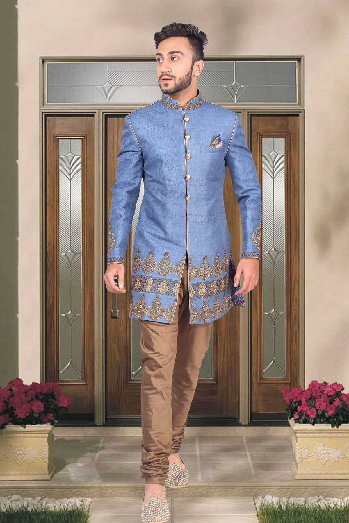 Blue linen indo western sherwani in brown chuddi bottomiw