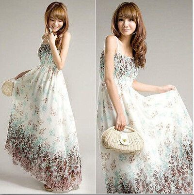 Women printing Floral Sexy Dress Summer Long Maxi Boho Beach Sun Dress Fashion Girls' Clothing