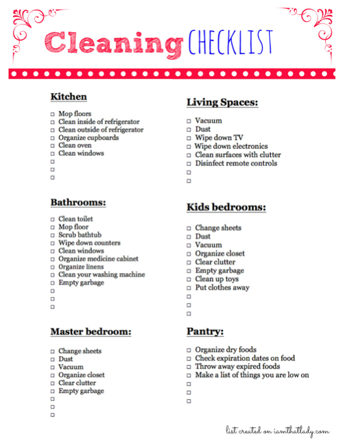 list for cleaning lady