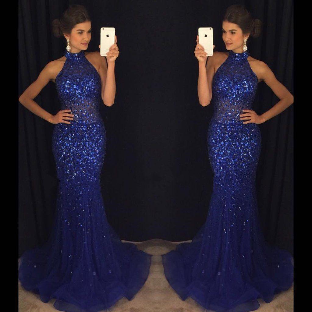 Mermaid navy blue high neck rhinestone prom dresses pd sequin