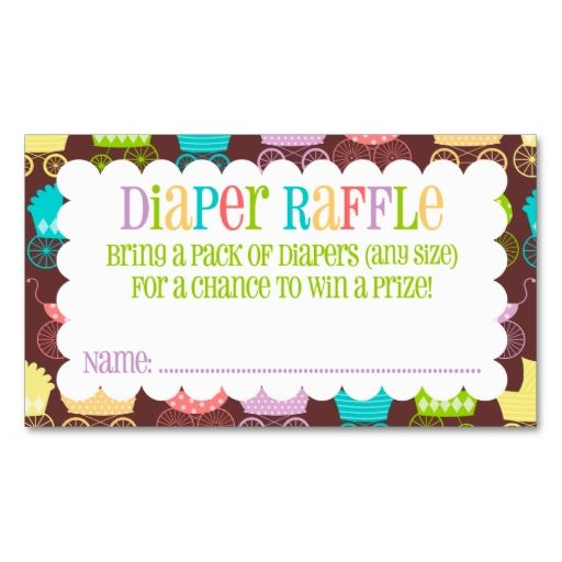 Stroller Chic Rainbow and Brown Diaper Raffle Ticket Business Card