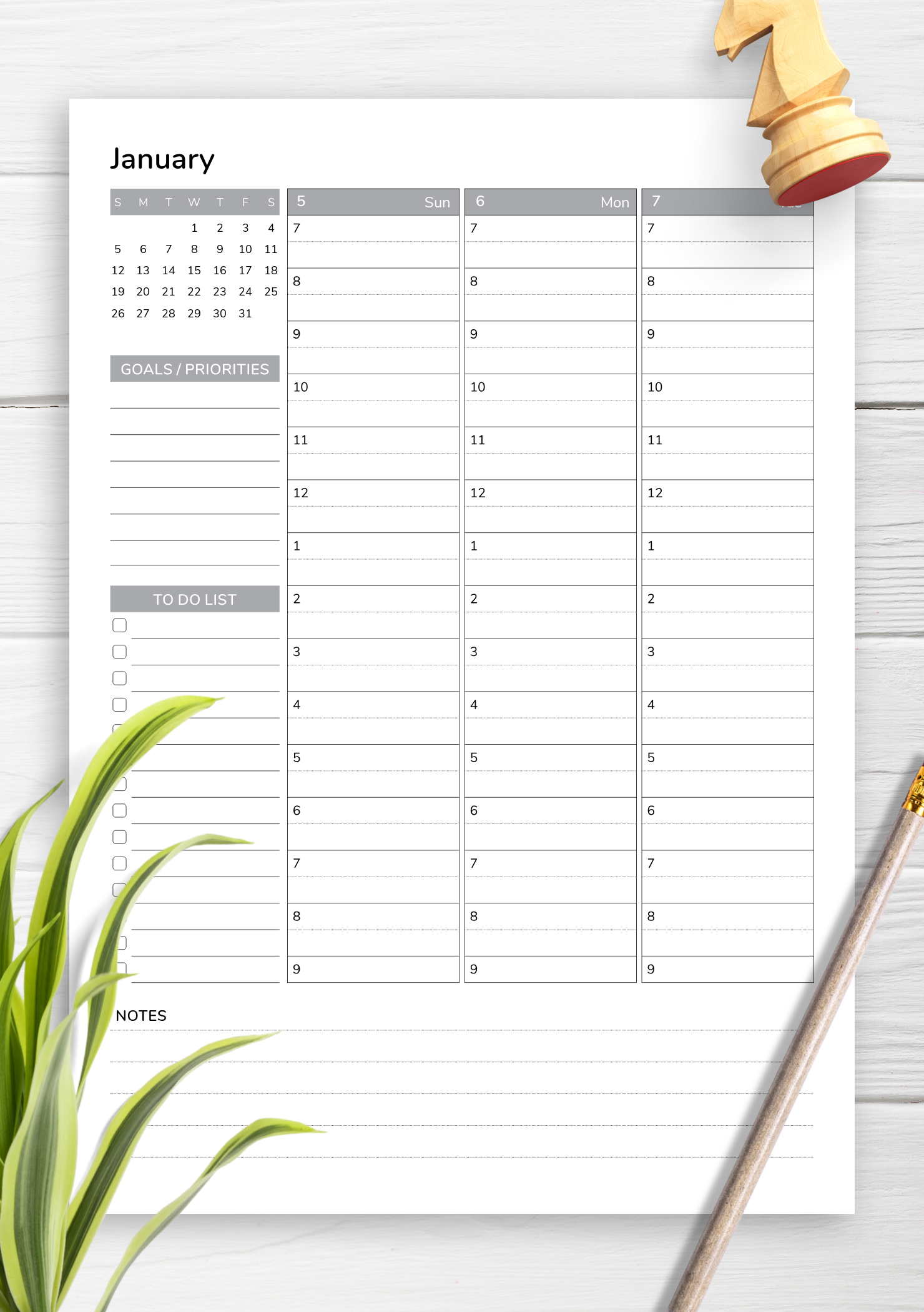 Weekly Planner With Goals And Priorities This Printable