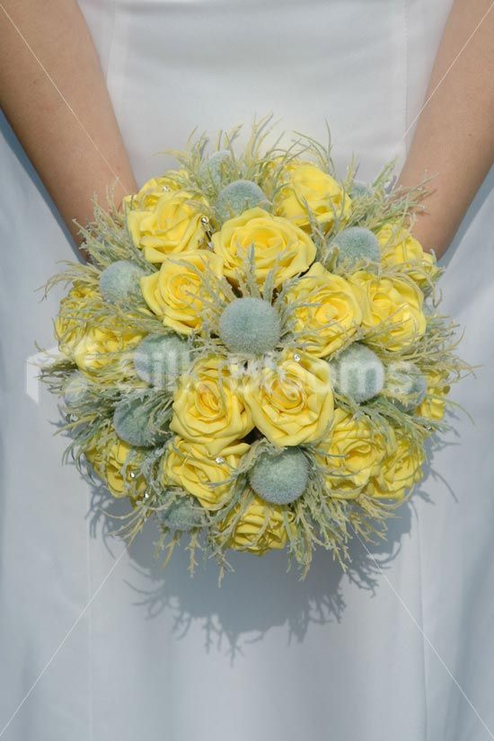 Beautiful yellow rose greengrey thistle wedding bouquet yellow beautiful yellow rose greengrey thistle wedding bouquet mightylinksfo