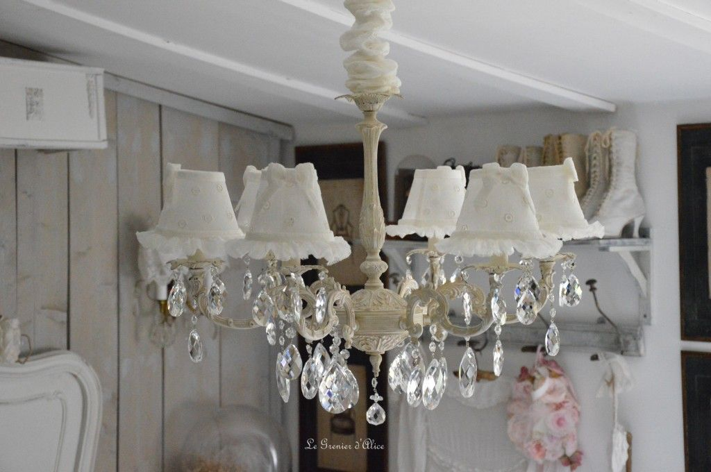 lustre six branches ancien pampilles patin lustre shabby chic et romantique romantic chandelier. Black Bedroom Furniture Sets. Home Design Ideas