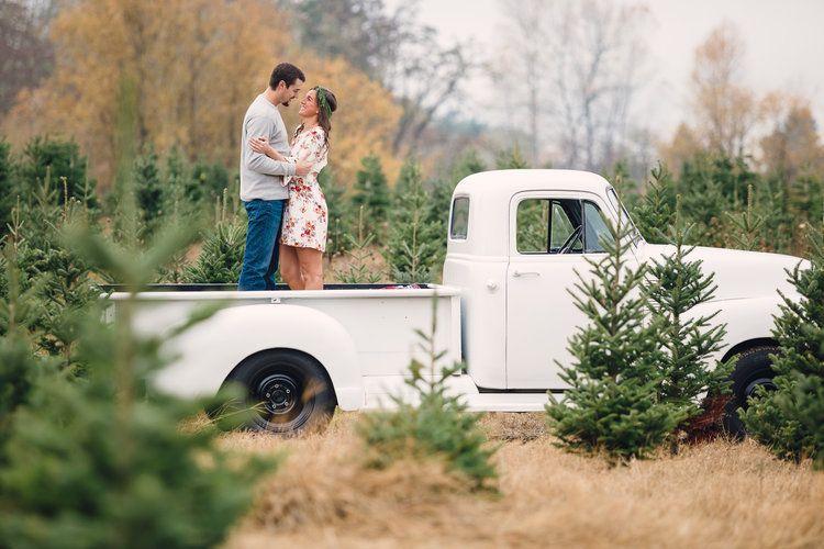 Vintage Chevy Truck Christmas Tree Farm Engagement Photo The Overwhelmed Bride Wedding Blog Socal Wedding Planner Vintage Truck Christmas Christmas Engagement Pictures Christmas Tree Truck