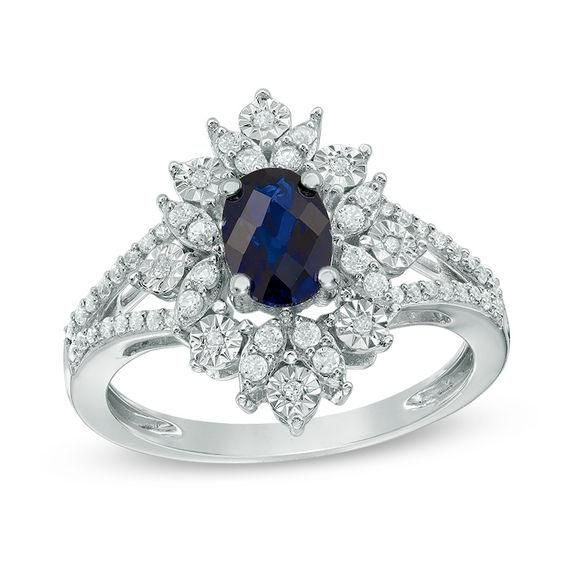 Zales Oval Lab-Created Blue Sapphire and Diamond Accent Starburst Frame Ring in Sterling Silver A4NsAZVbw7