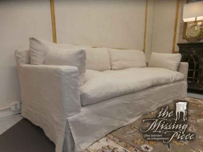 Restoration Hardware Belgian Track Arm Slipcovered Sofa In Wheat