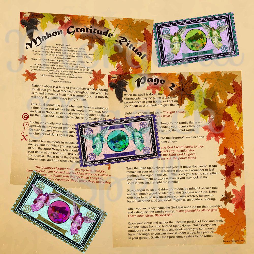 Mabon Gratitude Ritual 3 Printable Pages For Book Of Shadows Etsy Book Of Shadows Mabon Ritual
