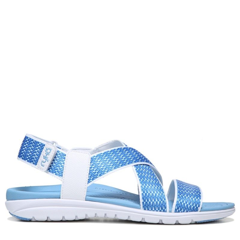 Womens Ryka Belmar MediumWide Sandal WhiteElsa Blue
