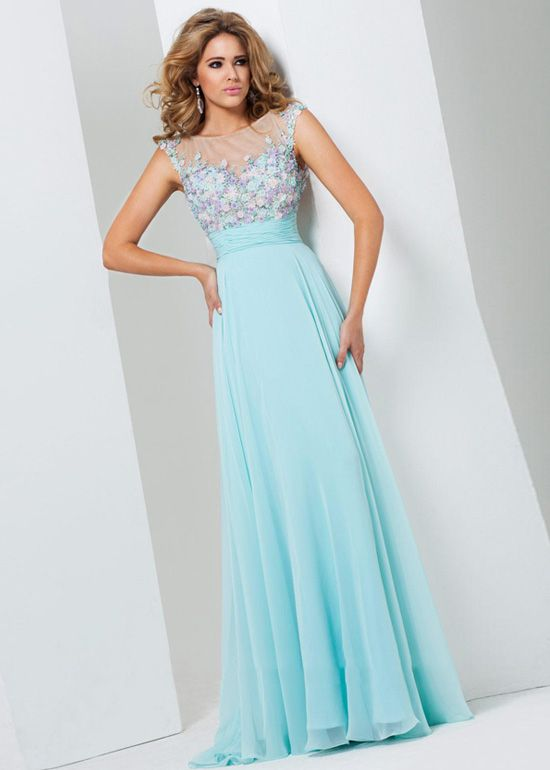 aqua cap sleeves beaded keyhole back ruched long prom dress | prom