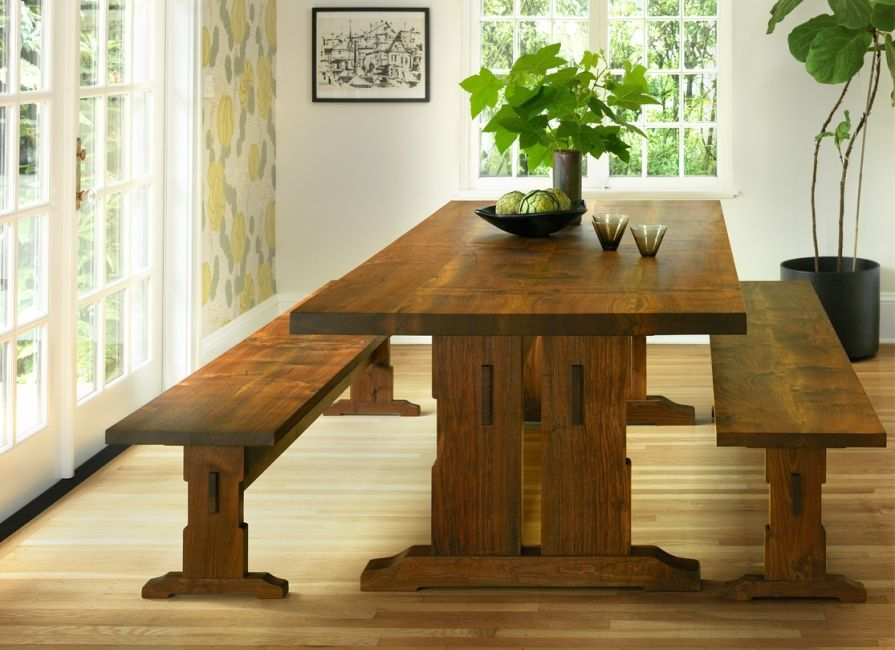 Beal Trestle Dining Table In Western Walnut With Benches