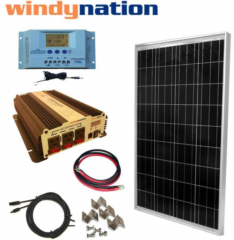 Complete Kit 100 W Watt 100w Solar Panel 1500w Inverter 12v Rv Boat Off Grid Home Garden Home Solar Energy Panels Solar Panel Installation Solar Panels