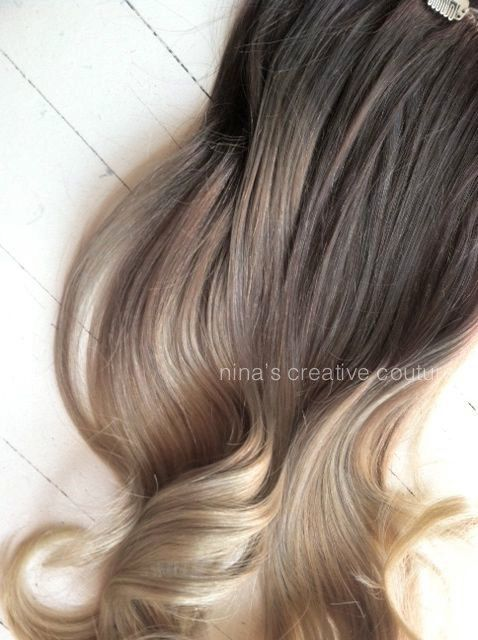 Cendres Ombre Blonde cheveux, Ombre Clip In Hair Extensions, cheveux blonds  foncé cendré,