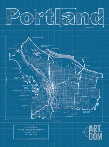 Portland artistic blueprint map printing and city portland artistic blueprint map art print by christopher estes at art malvernweather Gallery
