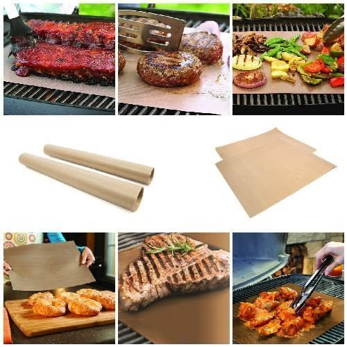 4 Piece Reusable Copper Grill Bake Mats Bbq Grilling Non Stick Pads Reversible Unknown Baking Mat Baking Grilling