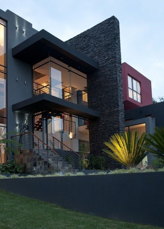 Black brick modern house