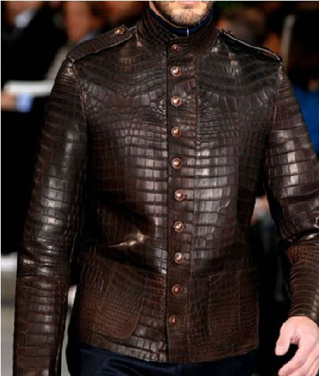 d6f9396fa293 Expensive Leather Coats for Men   Louis Vuitton Alligator Officers Jacket   For the wild men