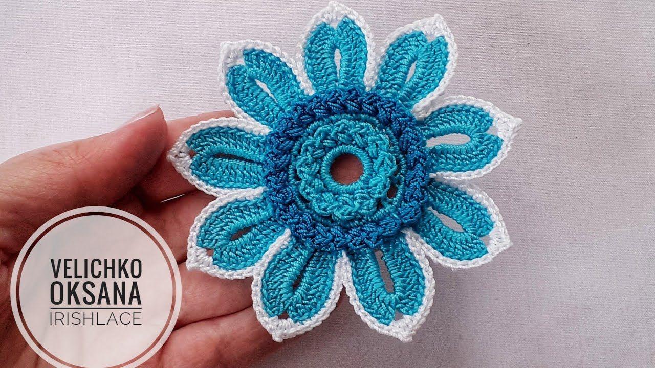 Цветок для ирландского кружева с объёмной серединкой. Irish lace.