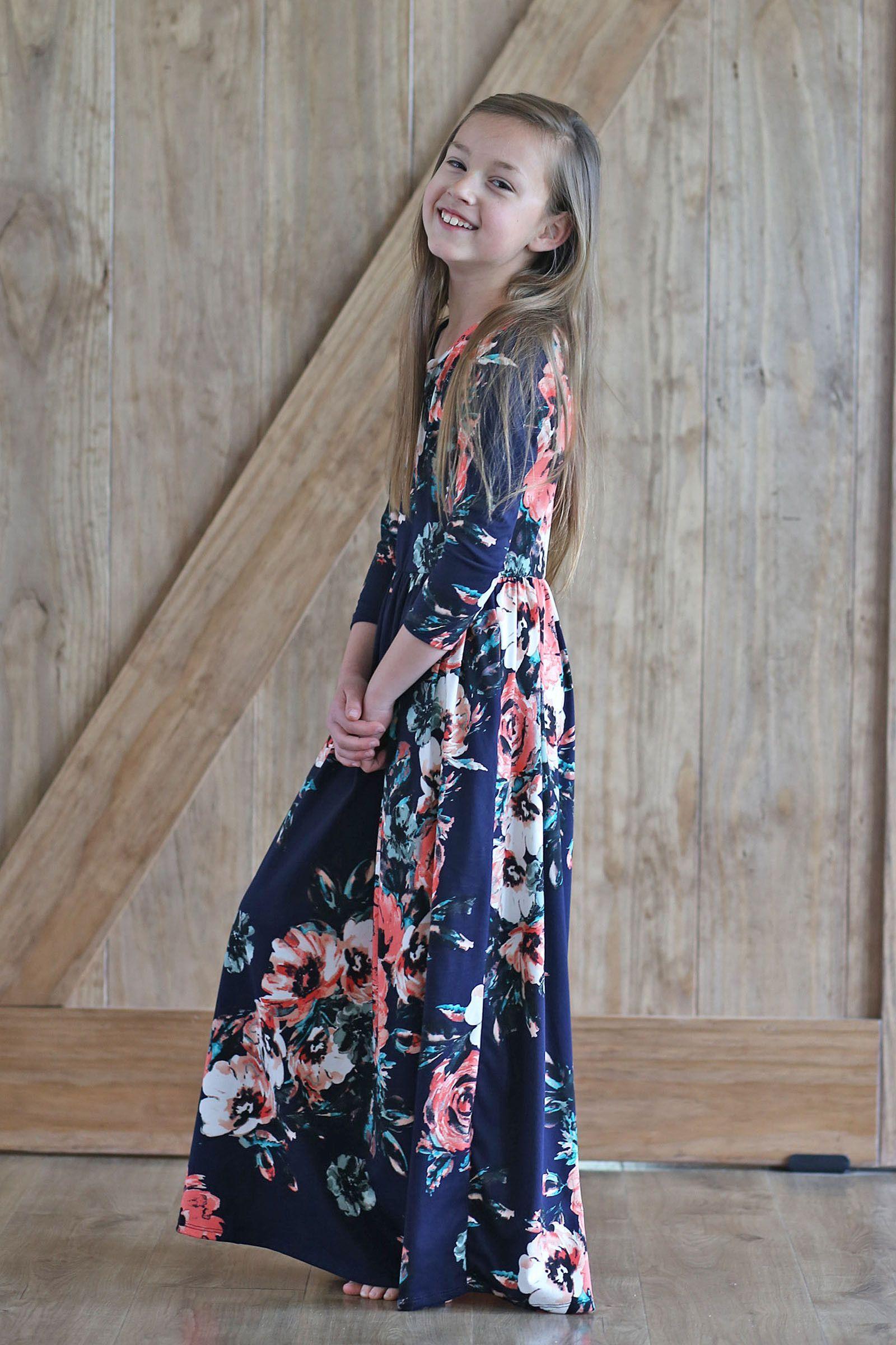 Elsieu floral modest long dress for girls modest maxi dress and