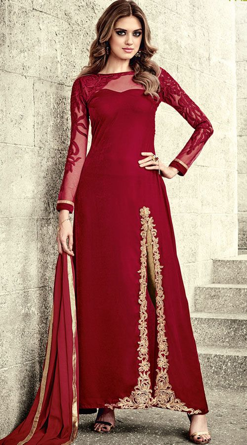 ec131638b2 Graceful Falkn Velvet Red Side Cut Kameez With Golden Pant ...